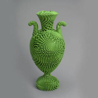 Made by Additive Layer Manufacturing, in a strong green, of upright vase form in neo-classical shape like a tall Wedgwood or Sevres urn, with pierced crossed strands that create both surface and interior patterns.