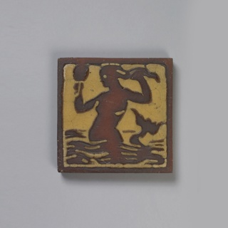 Press-molded low relief decoration in earth color against a yellow background. The first tile depicts a mermaid.