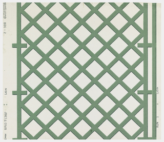 Green trellis pattern on white ground.