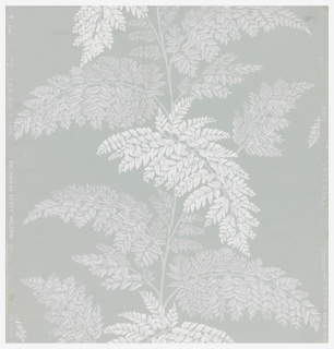 Pattern consisting of fern leaves, printed in two tones, white and light gray, on mint green ground. Printed in white and greys on blue ground.