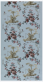 Chinoiserie design, chinaman sitting beneath tree, fishing. Red flowers and vining floral, with striped ribbon. Figure printed in grisaille, on blue ground.