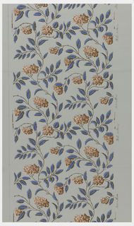 All-over vining floral pattern, printed in blue with red flowers on light blue ground.