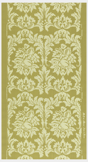 Repeating motif of acanthus framework, two across. Fruit and floral arrangement in center. Printed in pale yellow on yellow ocher strie ground.