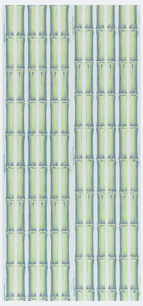 Pairs of bamboo rods, in groups of three, printed two across the width, slightly staggered. Printed in shades of green and gray on light green ground.