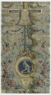 Arabesque, including roundel with battle trophies in grisaille, vase with flower above decorated apron, confronted birds, roses, and trophies of quivers and torches; printed in blue, pink, green, orange and cream on gray ground.