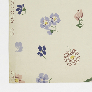 Flowers, including violets, lilies of the valley, and daisies, scattered at random. Printed in five colors on white ground.