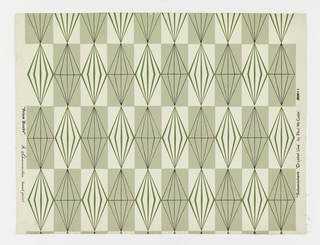 "Pale green vertical rectangles alternate with white vertical rectangles in checker board fashion as a background. Prismatic ""diamonds"" outlined in green are printed against the white rectangles, while slightly different ""diamonds"" of the same size are outlined in black and printed against the green rectangles. From Shumacher's ""Crystal"" collection."
