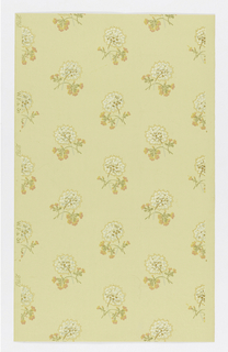 Staggered small clusters of flowers in white, yellow and pink, on light peach ground.