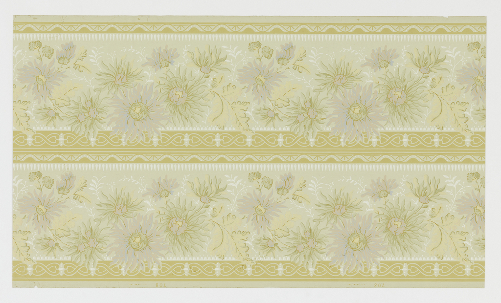 Two registers of large lavender and white flowers with green foliage on light gray ground; bordered by yellow composed of 8's and wavy lines.