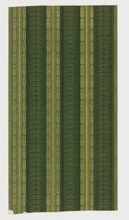Stripes of stylized floral motifs printed in gold on background of green simulated grasscloth.