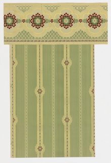 Floral stripe design with small-scale red flowers running vertically within gold lace-like stripe.
