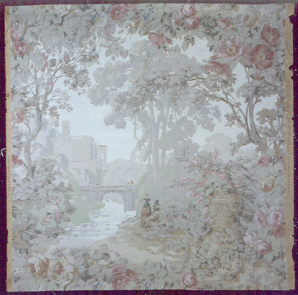 A picturesque landscape view, reminiscent of 18th century French scenic wallpapers, with floral ornament, figures and in the distance, a castle overlooking a lake.
