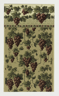 Design of grapes hanging from vines and grape leaves, printed over ground of beige stripes and darker dots on light green ground.
