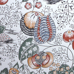 """All-over pattern of fanciful flowers and foliage. Printed in red, gray, green, ocher and black on off-white ground. """"NB568"""" printed in selvedge."""