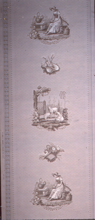 Colonial Revival style: series of vignettes alternating between lambs and a seated woman. Printed in shades of brown on beige ground.