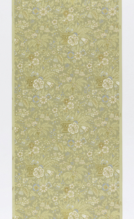 Aesthetic-style design, all-over floral and foliette pattern, printed in pink, blue, tan and white, with fine gold outline. Groups of flowers coming out of basket-like containers. Printed on embossed ground.