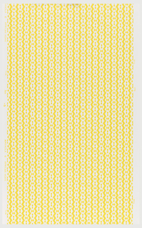 Small-scale diamond link pattern. White diamonds with two diamonds in center, form vertical stripes. Printed in yellow on white.
