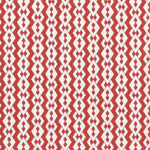 Small-scale diamond link pattern. White diamonds with two diamonds in center, form vertical stripes. Printed in deep red on white.