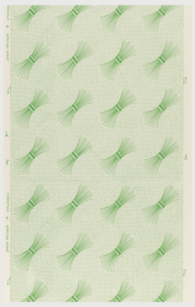 Repeating motifs of cornstalks, tied in bundles. Printed in green on a textile weave background.