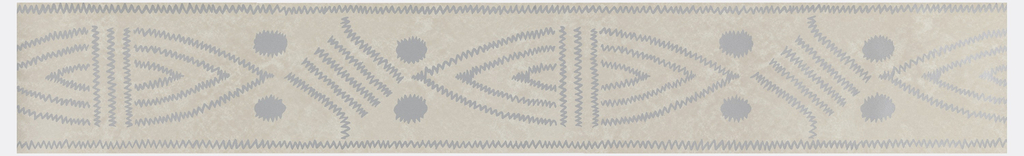 Pointed oval shapes with two large dots at either end, alternating with diamond shape composed of diagonal lines. Printed in silver on mottled gray ground.