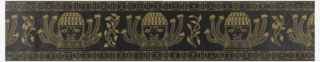 Repeating motif of face wearing cap, surrounded by six elephant-leaf cactus, raised upon a platform. This motif alternates with a stylized plant form. There is a running band of geometric shapes at top and bottom edges. Printed in gold on black ground.