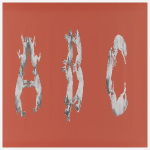 "Children's border with the entire alphabet, from A to Z, is displayed in order with each character composed of one, two or three weimaraner dogs. The dogs are printed in black and white on an orange-red ground. After the ""Z"", the artists name and wallpaper title are printed in white script, along with the date and the A/D Gallery Logo: ""William Wegman/Alphabet 1993"". Following, written in graphite, is the print edition ""38/1500""."
