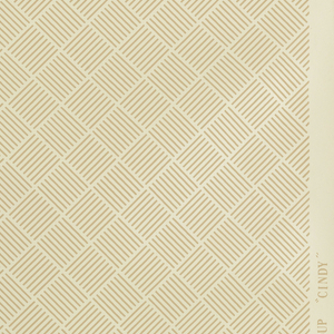 Tan striped grids forming diamond trellis or basket-weave pattern on the diagonal. Printed on tan ground.