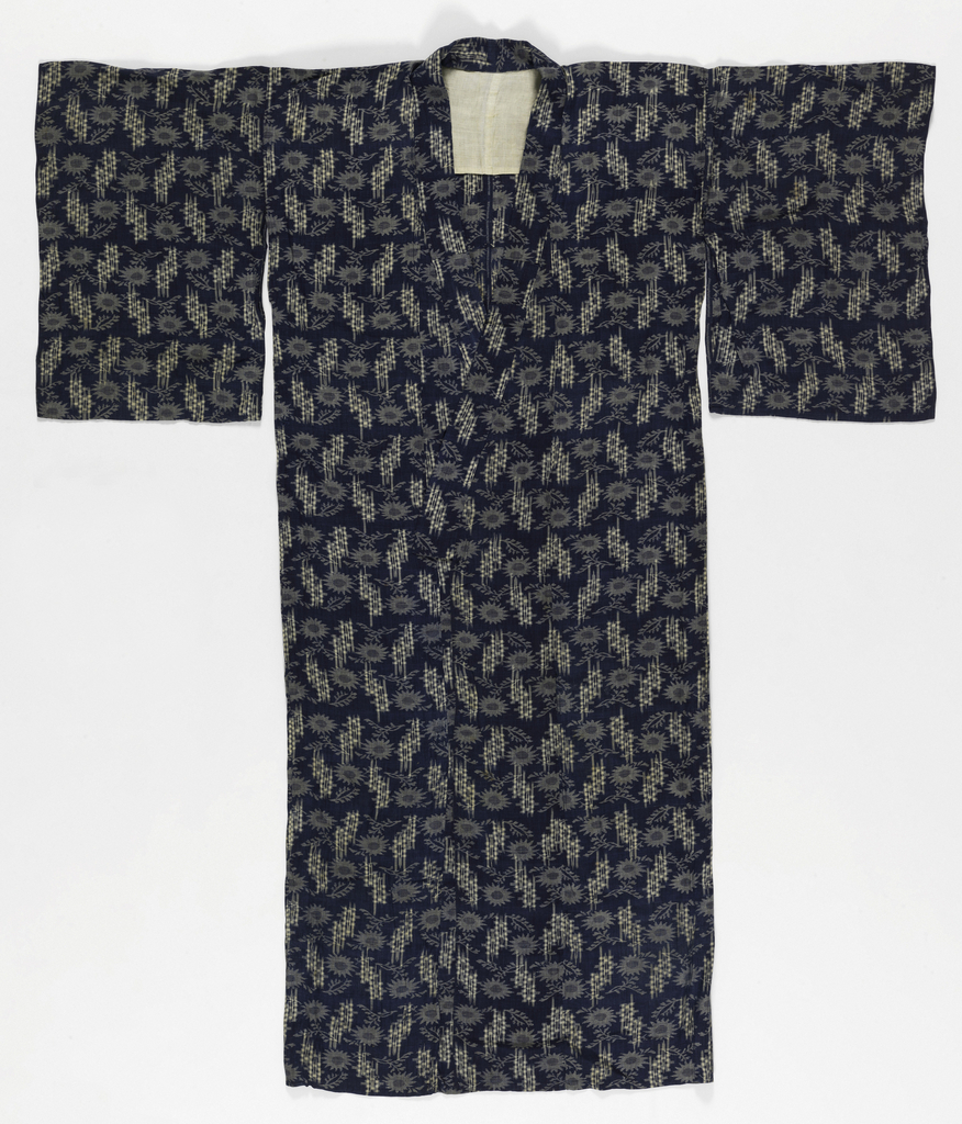 Woman's summer kimono dyed dark indigo blue with tied resist patterning in warp and weft forming a design in white of checks and flowers.