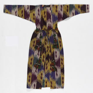 Woman's coat with full skirt gathered into the waist seam, asymmetrical front opening, and long sleeves which narrow to the wrist, made of silk warp ikat in bright colors of blue, green, yellow, burgundy, and white. Ties at waist are a flat braid of green and red silk with silver beads and elaborate red and green silk tassels at the ends. Unlined.