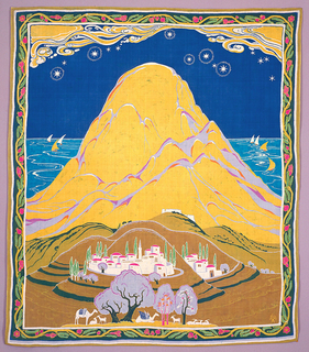 Silk mural with a landscape dominated by a yellow mountain against a deep blue sky studded with stars. In the background, the sea, with small boats. In the foreground, low hills with houses, camels and goats under trees. Narrow border contains a curving pomegranate vine.