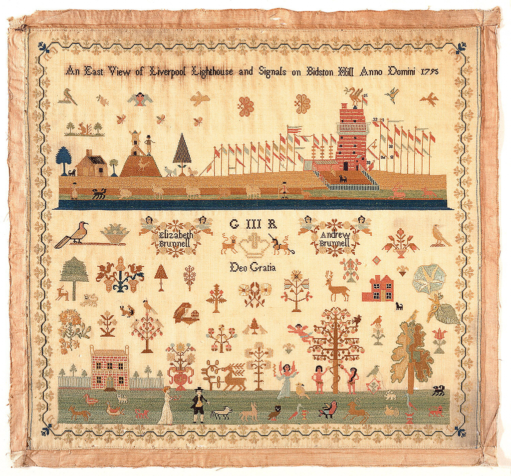 """Within a curving floral border a scene featuring a lighthouse with flags, a windmill, a house and assorted motifs titled """"An East View of Liverpool Lighthouse and Signals on Bidston Hill Anno Domini 1795"""" At bottom, scattered motifs, 2 cartouches """"Elixabeth Brunnell"""", """"Andrew Brunnell"""" """"G III R Deo Gratia"""" and a scene with a house, man and woman, angel and Adam and Eve."""