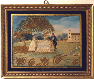 "Embroidered picture showing a man and woman weeping over a tomb under the shade of a willow tree.  The tomb's inscription reads, ""In memory of Mrs. Susannah Chandler.  Died August 28th, 1811.  Aged 56 years.""  There are plants in foreground, and a church in background.  The name of the maker - ""Mary B. Tyrrell, 1817"" - is painted along the bottom."