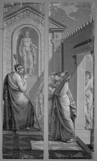 "Set of scenic wallpaper ""Les Amours de Psyche"", consisting of 26 panels. In grisaille. Two-panel scene which depicts Psyche resting her head on her mother's shoulder. Her father stands to the left. Cupid peers around the corner."