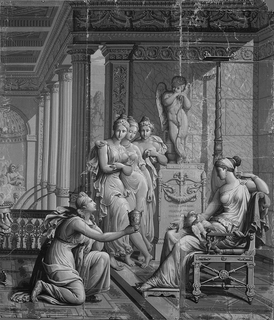One scene from the twelve which illustrate the story of Cupid and Psyche. This scene, containing three panels, shows a kneeling Psyche offering a goblet to a seated Venus. Cupid, leaning on his bow, stands on a pedestal in the background. The figures are within an Empire-style interior, with marble-tiled walls, columns, fountains, coffered ceiling and parquet floor. The entire scene is printed in grisaille, or shades of gray.