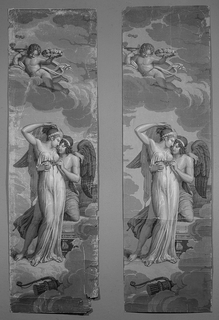 "Set of scenic wallpaper ""Les Amours de Psyche"", consisting of 26 panels which form 12 scenes based on the Jean de la Fontiane story  ""Les Amours de Psyche"" (1669). Scene depicts the marriage of Cupid and Psyche. Both ""a"" and ""b"" panel are the same design but ""b"" is printed in a warmer gray, more sepia toned."