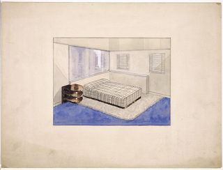 Beige-toned bedroom with a two-sided shallow built-in frame extending from the back wall and continuing at right angle on to the right wall. Bed within the framework, covered by a plaid-patterned spread with beige background and intersecting narrow white and dark brown lines. The dark brown bottom edge of the spread may depict a fringe or perhaps a shallow platform on which the mattress is set.  A white shag rug anchored by the bed overlays a floor painted dark blue, perhaps representing a wall-to-wall carpet. A mirror, precisely the same width as the back of the frame, occupies the entire space between the top of the frame and the ceiling. Two small windows,  wide apart and covered by Venetian blinds, are set in the right wall. Just next to the bed on the left, a night stand comprised of three rounded-edge shelves attached to a vertical backing spans the wall and the frame's edge.  The material's shiny surface reflects light from an unseen source and possibly matches that at the bottom edge of the spread.