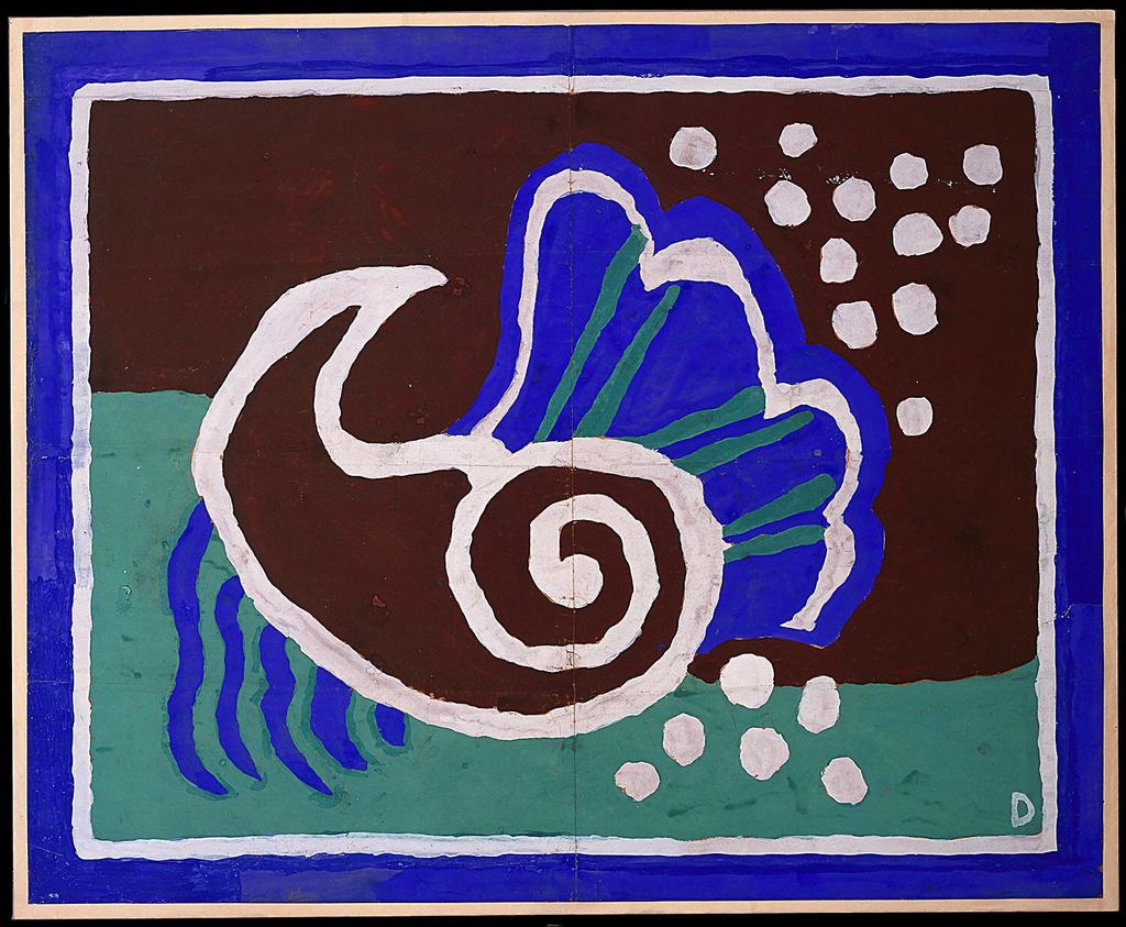 Design for bathroom mat. Horizontal rectangle features cobalt border with white trim in which ground and seafoam green planes - with undulating seam - provide backdrop for stylizied spiraling shell in brown with white border as well as a cobalt clam with white and seafoam accents. Wavy lines and white dots accent composition.