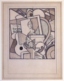 Cubist composition of overlapping forms including, at center, a framed picture of a woman holding a rose and surrounded by sheet music headed, in upper case, Mammy; on the left, a guitar; on the right, a tennis racket and architectural drawing (?); below, two books titled La Vie and La Jeunesse, both in upper case.