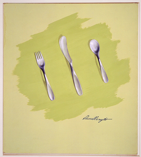 Design for softly contoured stainless steel fork, knife, and spoon with a brushed satin finish on lime green patch of gouache on lighter green paper.  Flatware teardrop-shaped handles are elongated, tapered, and depressed.