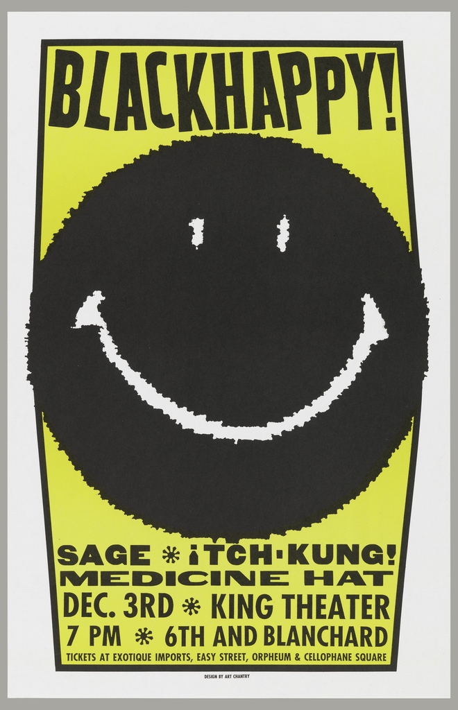 "Poster advertising ""Blackhappy!"" at the King Theater.  Black smiley face on yellow background, bordered in black.  The left and right edges of the border appear to be distorted by the bulk of the smiley face pressing against them."