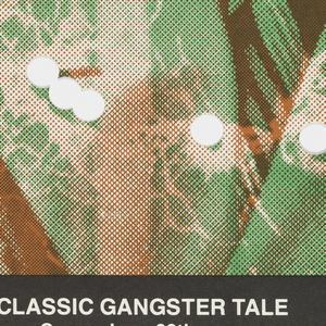 """Poster advertising """"Little Caesar:  The Classic Gangster Tale"""" opening at the Organic Theater Company.  Features figure of Al Capone printed in green dressed in hat, coat and tie.  Circular holes punched in the paper run across the figure's chest, indicating bullet holes.  Title and venue details appear in white text within black bars along top and bottom."""