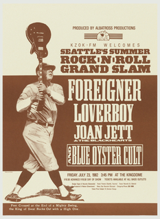 Printed in dark red on beige, features a baseball player, left, holding a guitar, like a bat, aloft. Right, text in caps: SEATTLE'S SUMMER/ ROCK N' ROLL/ GRAND SLAM/ FOREIGNER/ LOVERBOY/ JOAN JETT/ & THE BLACK HEARTS/ AND BLUE OYESTER CULT.