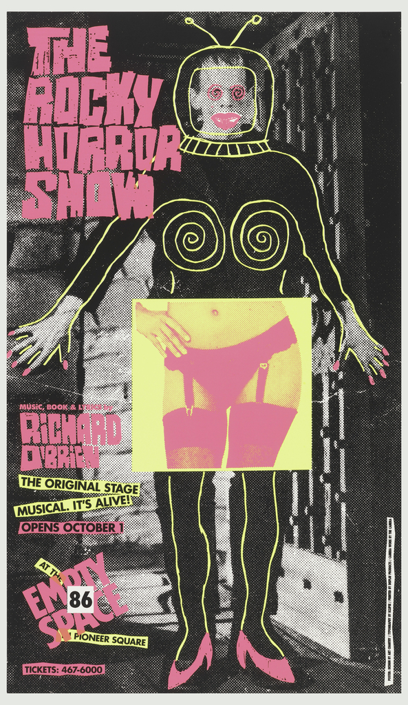 Poster advertising Richard O'Brien's, text in caps: THE/ ROCKY/ HORROR/SHOW.  Opening at Empty Space 86.  Features Frankenstein printed in greyscale.  Outline, in flourescent yellow, of astronaut helmet with anentae, bra, and bare legs superimposed over figure.  In flourescent pink appear, in a like fashion over the figure:  painted lips and nails, beauty mark, and high heeled shoes.