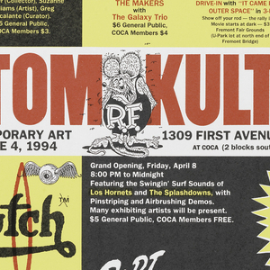 Poster for exhibition with text in red, across top: KUSTOM KULTURE; below left, in black: CENTER ON CONTEMPORARY ART / APRIL 8 THRU JUNE 4, 1994; below right, in black: 1309 FIRST AVENUE / (206) 682-4568 / AT COCA (2 blocks south of the Pike Place Market). Montage of images and text, including heads of three men (in black and white) with red arrows connecting them, each head identified by a name: Von Dutch (at left), Robt. Williams (upper right), Ed Roth (lower right). Green flame at bottom. Poster parodies, corporate logos and trademarks, e.g. right center and upper right. Images from comics seen upper center; surf culture (e.g. jar of Butch Wax) at left center; primitive-insipired art. Northwest Native American (?) at left.
