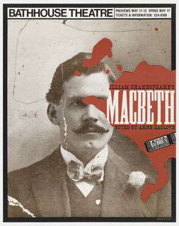 "Poster advertising Arne Zaslove's adaptation of Shakespeare's ""Macbeth"", opening at the Bathhouse Theatre.  Features frontal portrait of a man in suit jacket, vest, and bowtie with a flower in his lapel.  He wears a moustache and looks out to the right.  The text of the title appears, at right center, within a pool of red blood situated over the man's image."