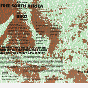 """Poster advertising """"Free South Africa"""" concert featuring Rumors of the Big Wave with The Total Experience Gospel Choir.  The poster features an upturned face in red and pale green, three-quarter profile with yellow firework bursts across face."""