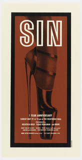 "Poster advertising ""Sin"", opening at the Weathered Wall.  Features a side view of a foot in stiletto platform high heels, printed in black against red."