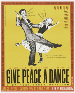"Poster advertising ""Give Peace a Dance"" 24-hour dance marathon at U of W Hub Ballroom.  Features Mikhail Gorbachev dancing in drag with Ronald Regan, printed in black against orange.  Red border with black text."
