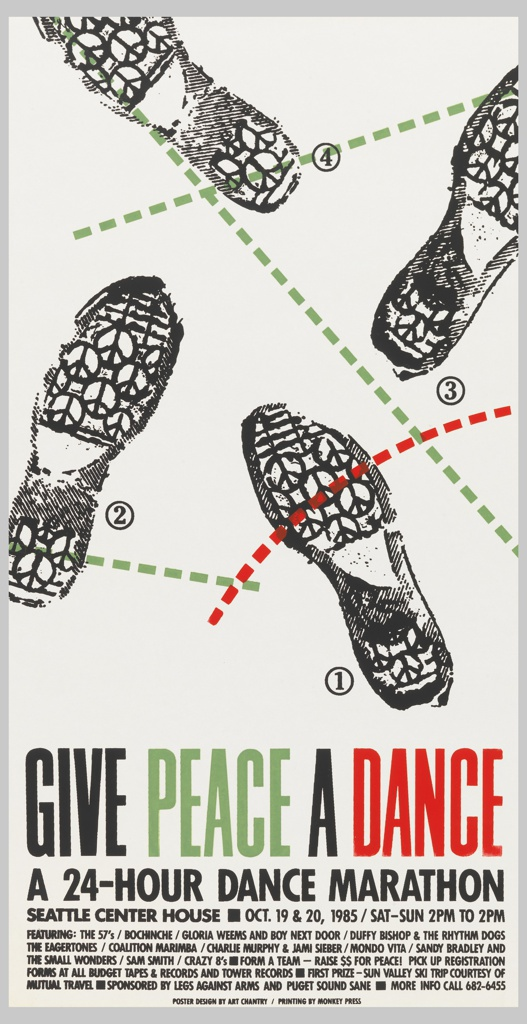 "Poster advertising ""Give Peace a Dance"" 24-hour dance marathon at the Seattle Center House.  Bottom quarter of poster contains title and venue details.  ""GIVE"" and ""A"" printed in black, ""PEACE"" in green, ""DANCE"" in red.  Four footprints printed in black (dance steps) with peace signs on the soles of the shoes are numbered, clockwise from top, (4), (3), (1), and (2).  Footprint (4) has a green dotted line running from its heel to the ball of the foot on footprint (3), and a green dotted line running past the heel of footprint (3).  Footprint (2) has a green dotted line intersecting its heel, crossing an arcing red dotted line that intersects with the ball of the foot on footprint (1), extending off the page."