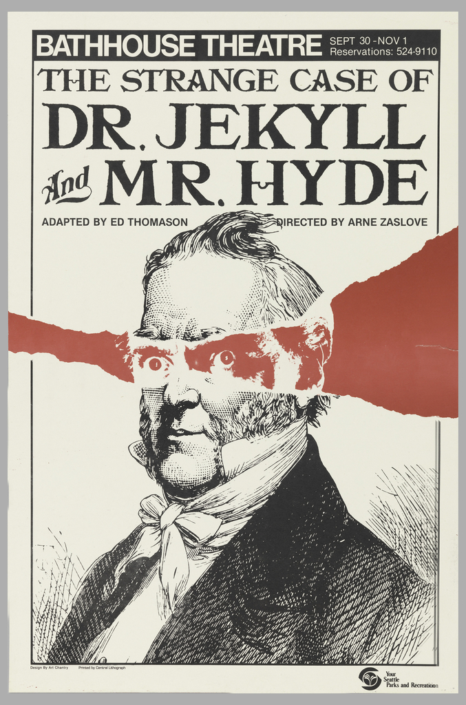 Bathhouse Theatre poster with a portrait of a man with a red streak (as though torn through paper) through his eyes, revealing the other side of the man.
